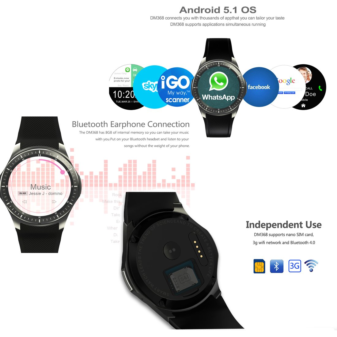 3 G WiFi Bluetooth Smart Watch funda All-in-One Android 5.1 DM368 ...