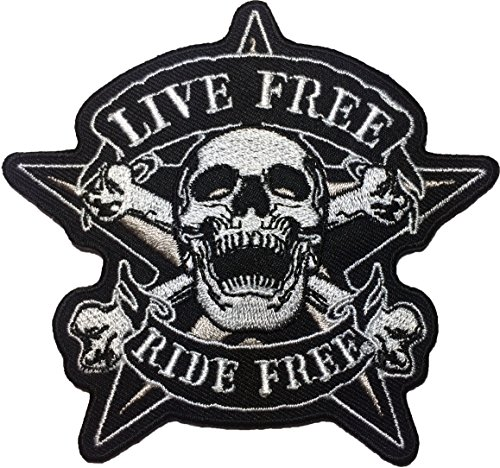 Papapatch LIVE FREE RIDE FREE Skull Crossbone Star Biker Rider Punk Chopper Jacket Vest Costume Sewing on Iron on Embroidered Applique Patch (IRON-RIDE-FREE-SKULL-CROSS)