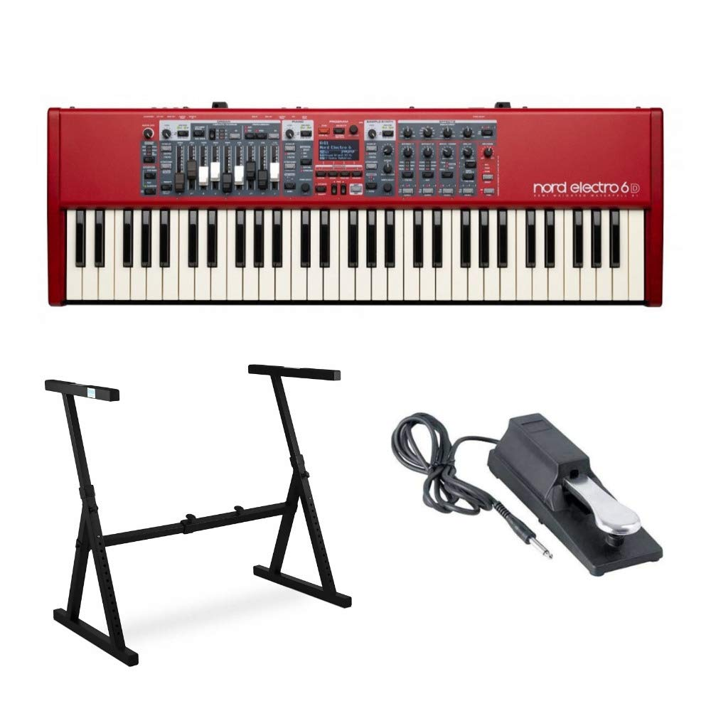 Nord Electro 6D 61-Key Semi-Weighted Action Keyboard with Nine Drawbars Bundle Includes Knox Z-Style Stand and Sustain Pedal by Nord