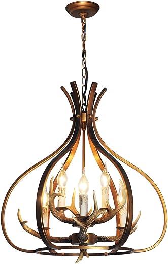 "ALOYSIANS Deer Antler lamp,Antler Chandelier Light Fixture,22"" Dia Antique Gold Chandelier,Metal and Resin Chandelier,Golden Antique Pendant Light Fixture for Living Room Dining Room Kitchen Island"