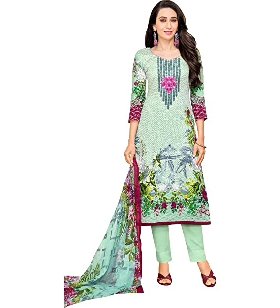 acf17cbcb6 MF Next Sea Green Satin Cotton Printed & Embroidered Unstitched Salwar Suit  (EZ_66007_Free Size): Amazon.in: Clothing & Accessories