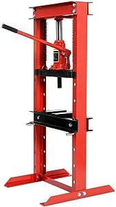 Goplus 12 Ton Hydraulic Floor Shop Press H-Frame w/Heavy Duty Steel Plates