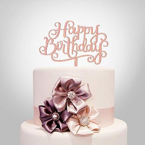Pink Geometric Round Acrylic Happy Birthday Cake Topper  Laser Cut Cake Topper   Birthday Cake Decor  Modern Happy Birthday Cake Topper