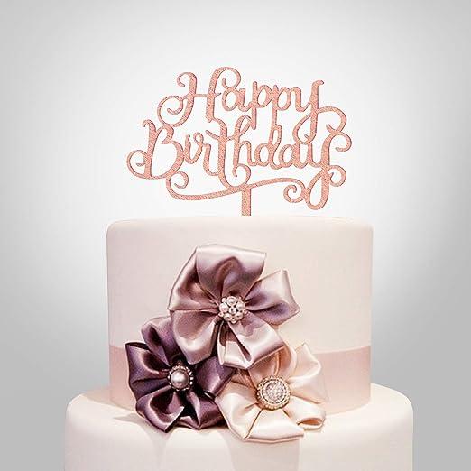 Super Amazon Com Happy Birthday Cake Topper Rose Gold Acrylic Funny Birthday Cards Online Elaedamsfinfo