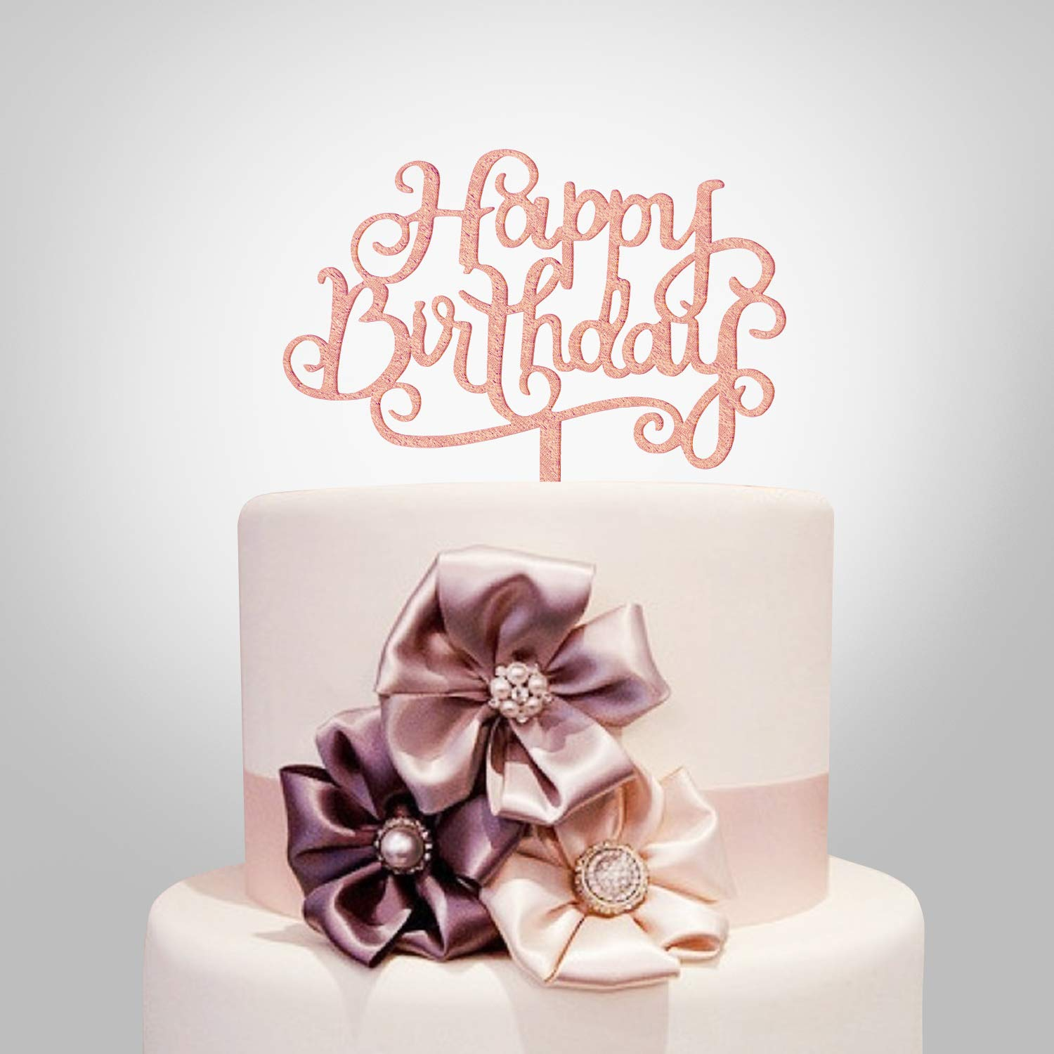Happy Birthday Cake Topper, Rose Gold Acrylic, Calligraphy Bling Cake  Decoration Sign Party Banner