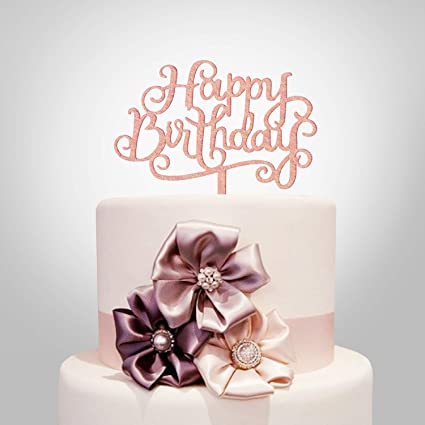 Amazon Happy Birthday Cake Topper Rose Gold Acrylic Calligraphy Bling Decoration Sign Party Banner Kitchen Dining
