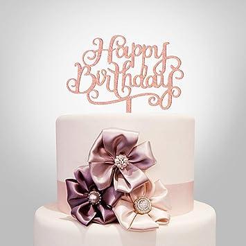 Decoración para tarta de cumpleaños, acrílico plateado ...