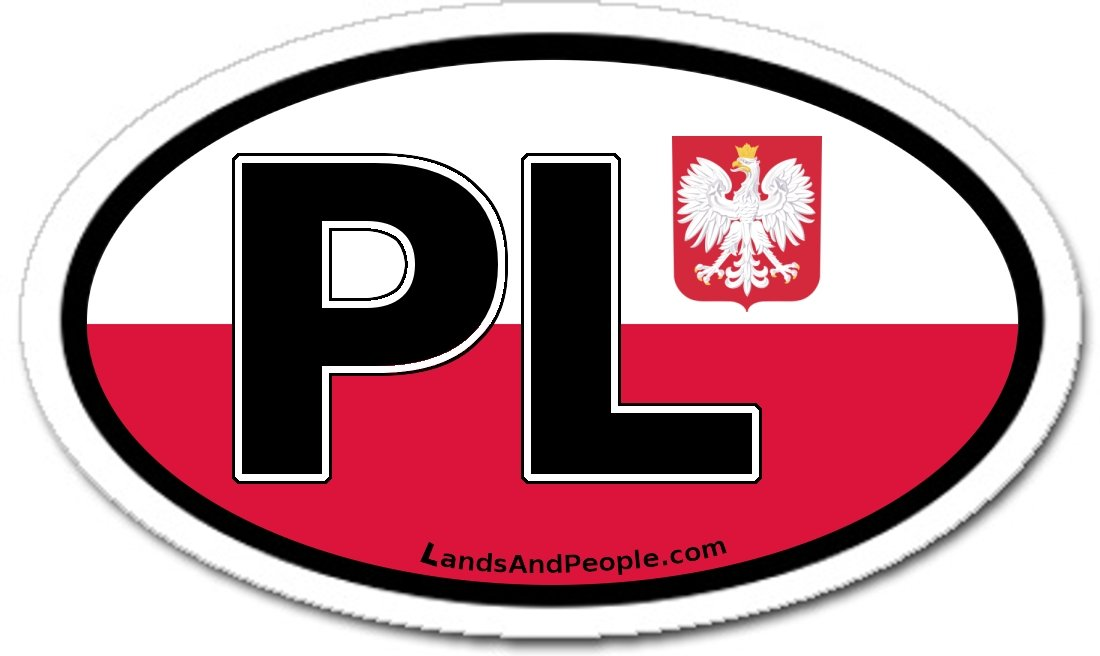 Amazon com poland pl and polish flag car bumper sticker decal oval automotive