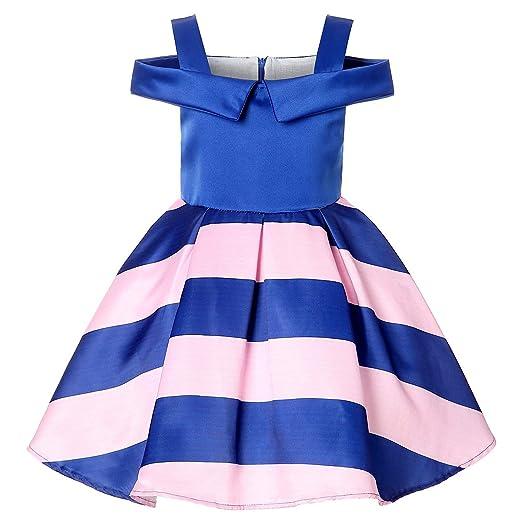 YRE Vestido de niña, una Palabra Hombro Hombro Rayas Princesa ...