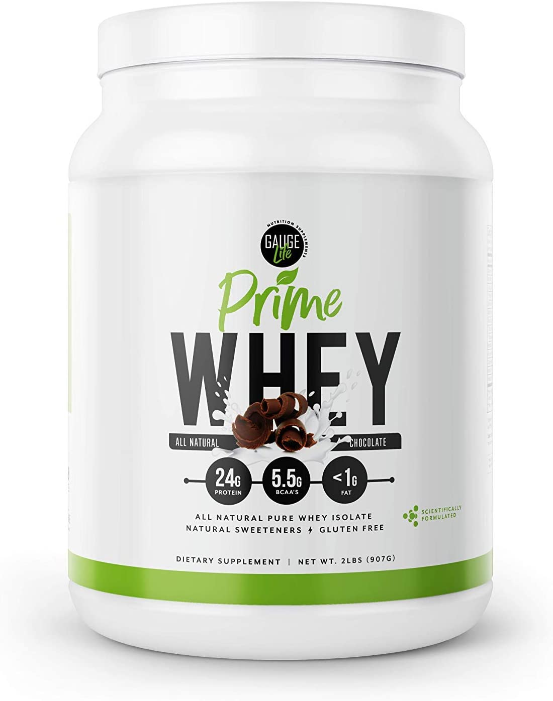Gauge Life Prime Whey Isolate Chocolate Protein Powder from Pasture Raised Cows- Low Carb, Low Calorie, Non-GMO, Gluten Free, Soy Free. Great for Weight Loss Bodybuilding, 32 Servings
