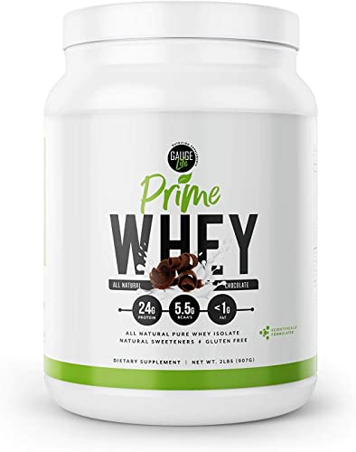 Gauge Life Prime Whey Isolate Chocolate Protein Powder from Pasture Raised Cows- Keto Friendly, Low Calorie, Non-GMO, Gluten Free, Soy Free. Great for Weight Loss Bodybuilding, 32 Servings