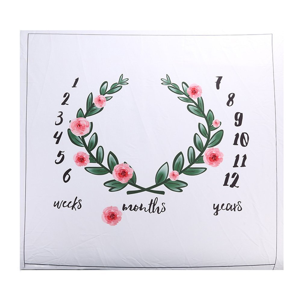 Baby Floral Wreath Print Milestone Blanket with Monthly Growth Chart Backdrop Newborn Baby Photography Props (Flower) (Flower) Ever Fairy MY-SD09-AC