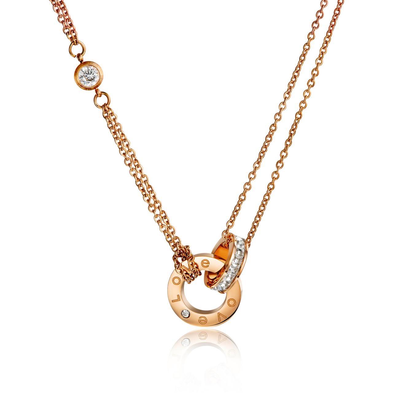 Findout 14K rosafarbenes Gold überzog Titanstahl-Liebesdoppelkreis Cubic Zircons hängende Halskette, für Frauenmädchen