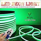 IEKOV LED NEON LIGHT, trade; AC 220V Flexible LED Neon Strip Lights, 120 LEDs/M, Dimmable, Waterproof 2835 SMD LED Rope Light + Remote Controller for Party Decoration (32.8ft/10m, Green)