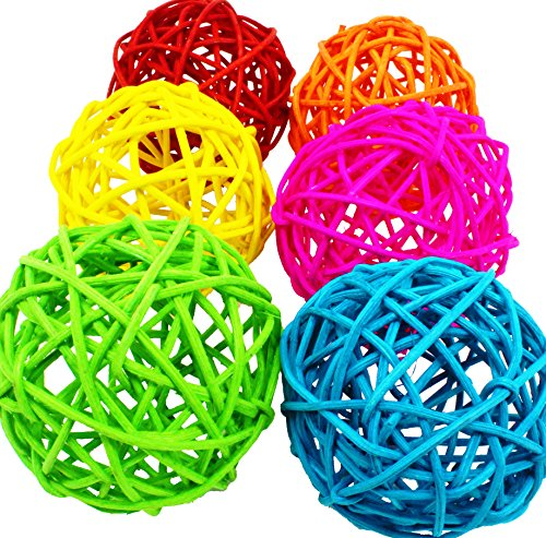 Bonka Bird Toys 1291 Vine Ball Large Bird Parrot Toy Part Craft Parrot cage Toys Cages Natural pet (Pack 6) (Bird Toy Making Supplies)