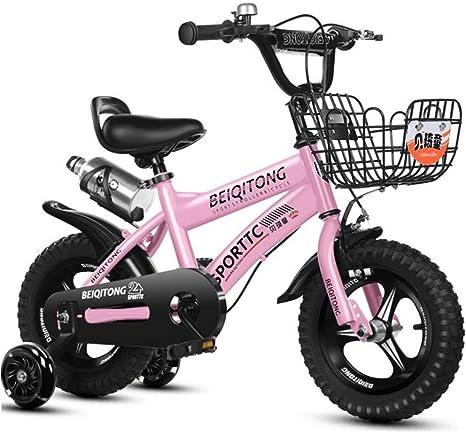 """Dsrgwe Bicicleta niño, Bicicleta Niños, niño Vespa Bicicletas de 3-10 Años de Edad, con Soporte for Botella de Agua y Ruedas de Entrenamiento, Son de tamaño 12"""" 14"""" 16"""" 18"""": Amazon.es: Deportes y aire libre"""