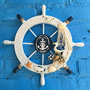 Beauy Girl Mediterranean Style Nautical Wheel Decor Wooden Steering Wheel Home Wall Decor, 28cm