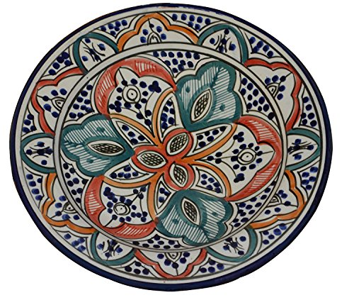 (Ceramic Plates Moroccan Handmade Serving Wall Hanging Exquisite Colors Decorative Large 12 inches Diameter)