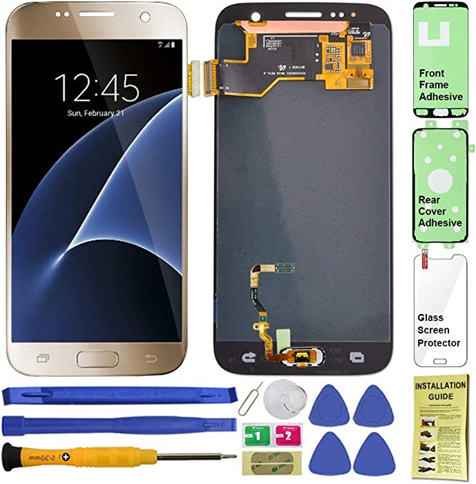 Display Touch Screen (AMOLED) Digitizer Assembly with Home Button for Samsung Galaxy S7 (5.1 inch) All Models (Unlocked) G930 G930A G930P G930T G930V G930R4 G930F G930W8 G930U (Repair Tools) (Gold)