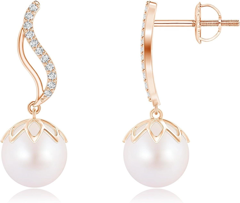 Akoya - Pendientes de perlas cultivadas con diamantes en oro rosa de 14 K (8 mm, perla cultivada Akoya)