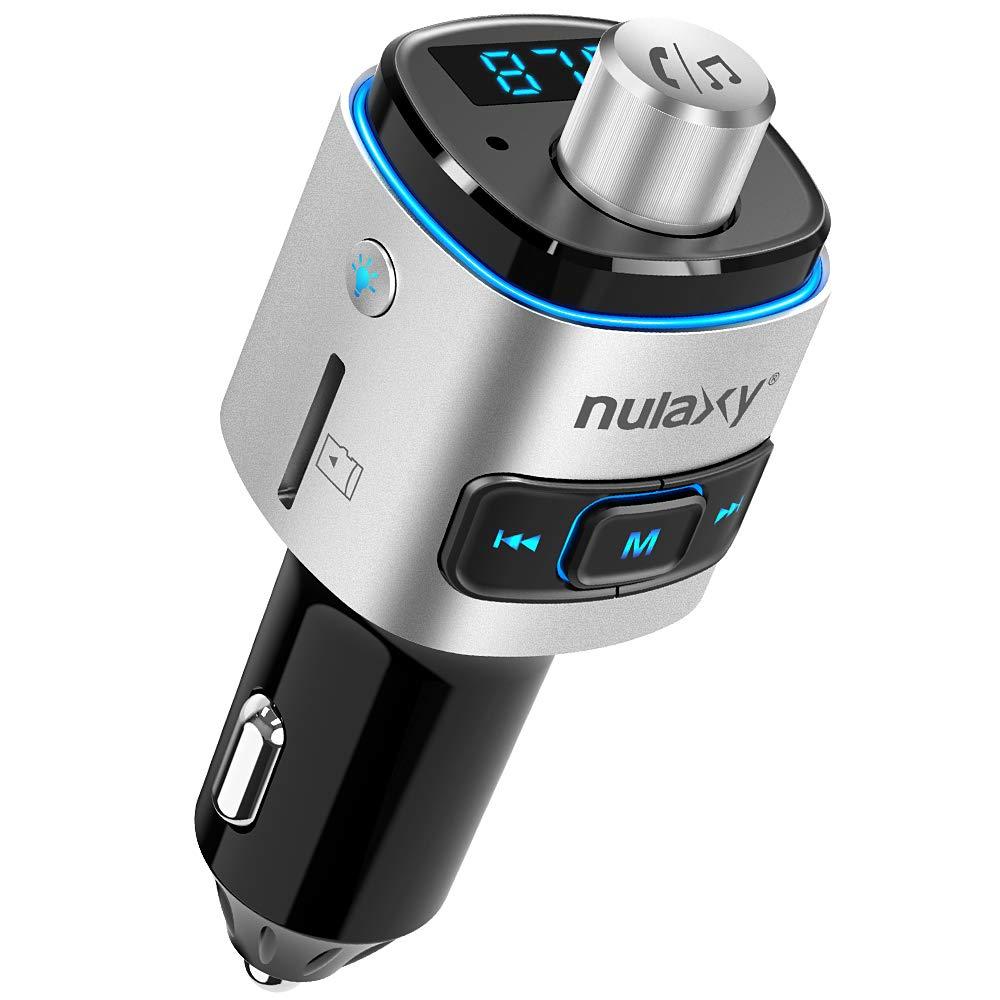 Bluetooth FM Transmitter for Car, Nulaxy Bluetooth Radio Adapter Wireless Car Kit with QC3.0 Charging, RainbowLED Backlit, Support Siri/Google Now, USB Flash Drive, TF Card, Handsfree Calling - NX09