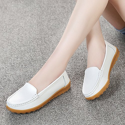T-JULY Womens Moccasin Boat Shoes Lightweight Comfy Driving Penny Loafers Flat Shoes White I4FIZVes