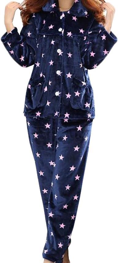 Casual Pijama Serie de Calentamiento Ropa de Dormir Ropa Inicio de la Franela Pijamas X-Large-A7