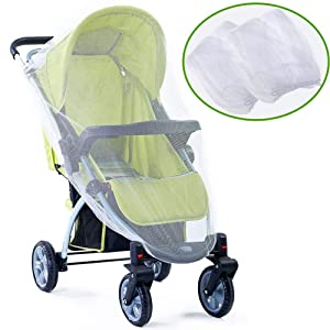 Baby Mosquito Net 2 Pack, Fit for Strollers, Carriers Car Seats Cradles, Ultra Fine Mesh Protection Perfect Against Mosquitos, Bees, Flying Insects (White)