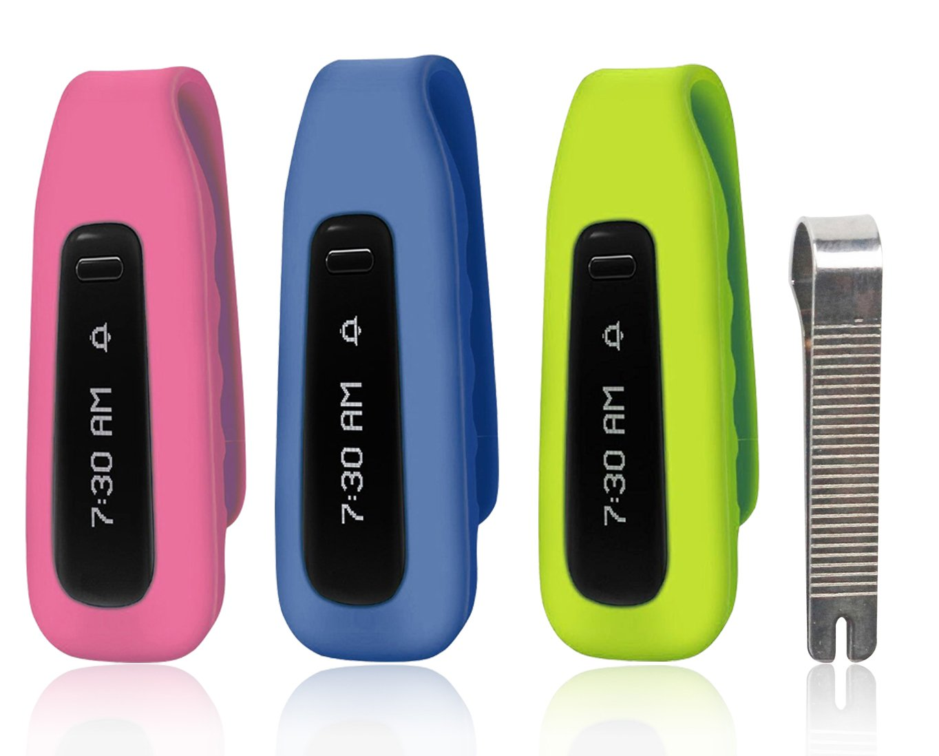 MDW 3 Pcs Silicon Clip For Fitbit One Replacement Clip Accessory Pack For Fitbit ONE Anti Slip Off and Improved Cap Design-Pink,Navy,Green