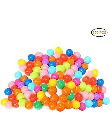 Daxoon 200 Bolas de plástico para Jugar con 8 Colores Vibrantes, Bolsa de Malla,