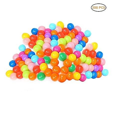 Daxoon 200 Bolas de plástico para Jugar con 8 Colores Vibrantes, Bolsa de Malla, para Uso en bebés o niños pequeños, túneles para Tiendas de campaña ...