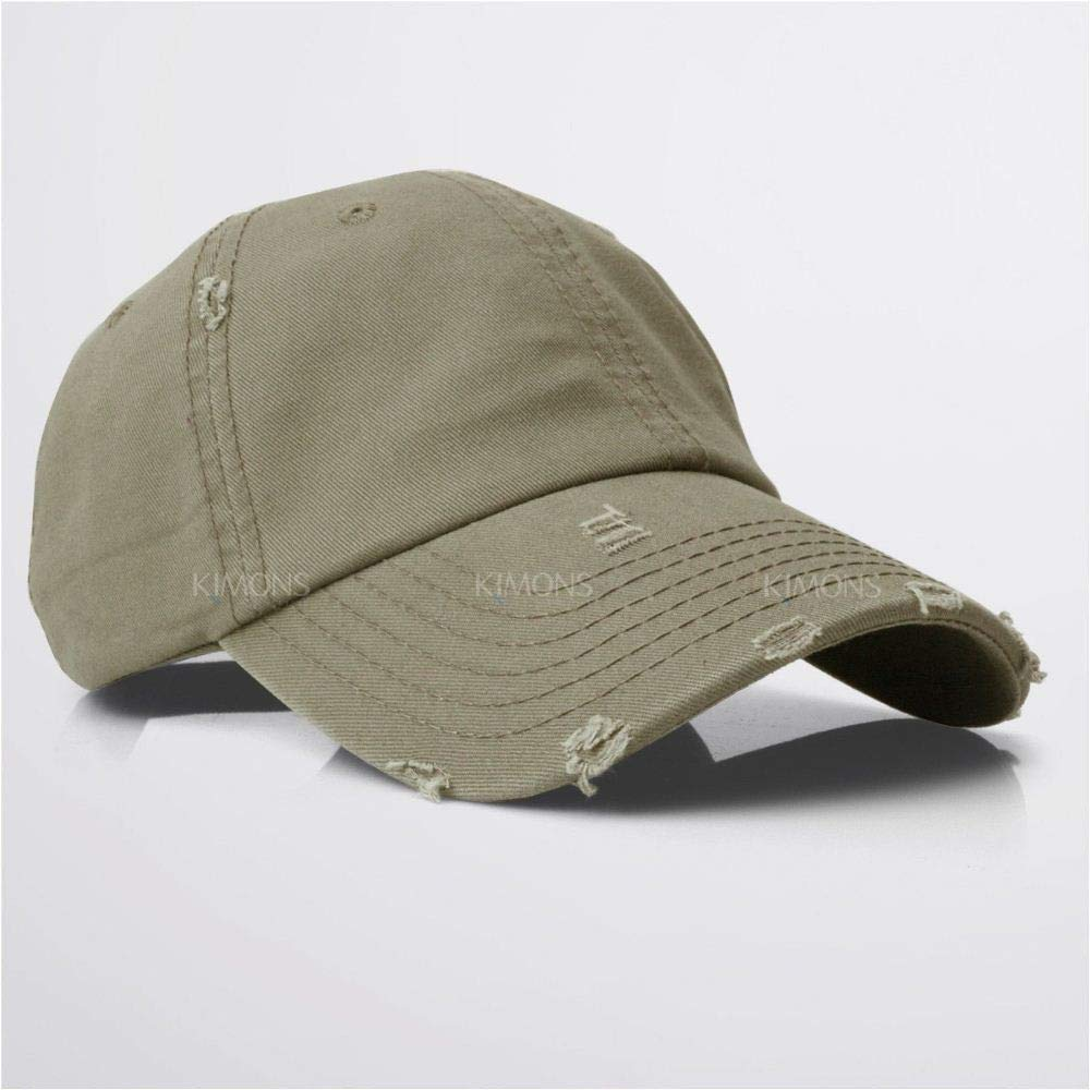 d7c5b35075e9b2 Amazon.com : ikimons Vintage Distressed 100% Cotton Solid Polo Denim  Baseball Cap Hat Ball Dad Washed- Khaki Color : Sports & Outdoors