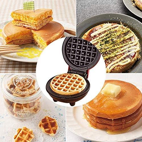 DFEDCLL Gaufrier électrique pour gaufres, Mini Machine à gaufres pour paninis, Biscuits, Pommes de Terre rissolées Autres Petits déjeuners, déjeuners ou collations à emporter