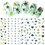 3D Nail Sticker Palm Tree Green Black Summer Sticker DIY Adhesive Tips Nail Art Decorations Women Nail Decals