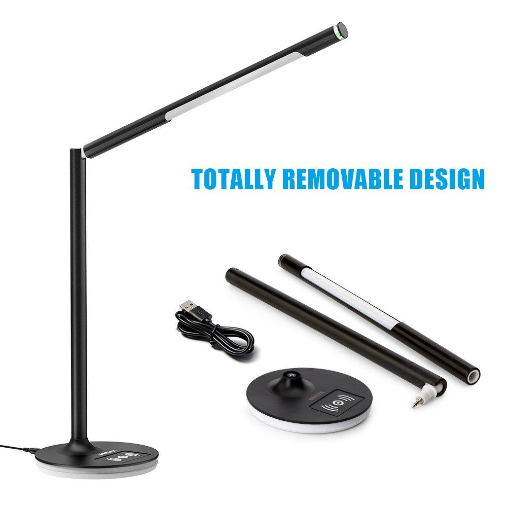 L/ámpara de mesa soporte extra/íble y soporte 360 grados de luz ajustable para oficina Brilex L/ámpara de escritorio LED con cargador inal/ámbrico 3 modos de iluminaci/ón control t/áctil trabajo