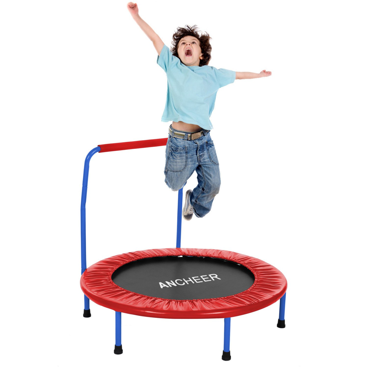 ANCHEER 36 inch diameter Mini Rebounder Trampoline with Handrail, Safe Trampoline for Kids, suitable for indoor and outdoor use (Red)