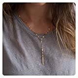 Fremttly Delicate 14K Gold Fill Adjustable Y Necklace Gold Lariat Simple Baton Layering Necklace-Y-Lace
