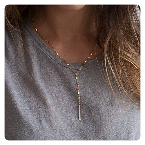 - Fremttly Womens Simple Delicate Handmade 14K Gold Fill Rose Gold Adjustable Y Necklace Lariat Simple Baton CZ Layering Necklace-Lace-Rose