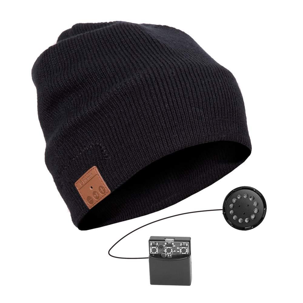 Bluetooth Beanie Hat, Jhua 4.2 Wireless Bluetooth Headphones, Knitted Music Hat Built-in Stereo Speakers Women Men Winter Running Hat Outdoor Sports(Lining Thickening) (Black)