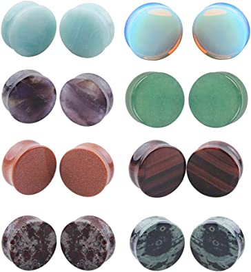 2Pairs Rose Quartz Aventurine Natural Organic Stone Ear Plugs Gauges Tunnel Expanders Stretcher Double Flared ite Flesh Piercings Body Jewelry Set