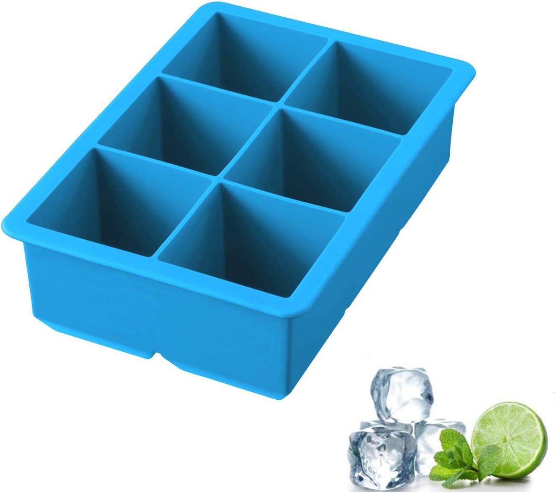 iNeibo cubitera para hielo bandeja para hielo grandes molde de cúbitos silicona de grado alimenticio con 6 cúbitos para enfriar bebida whisky champaña XXL azul