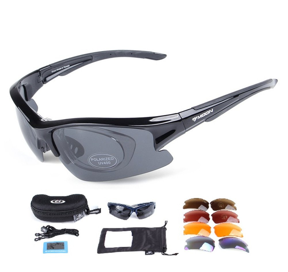 Lorsoul Polarized Sports Sunglasses with 5 Interchangeable Lenses, Tr90 Unbreakable glasses for Men Women Cycling Driving Running MTB Racing Ski Goggles (Black)