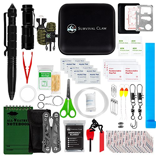 Survival Claw: Small First Aid Kit + Emergency Survival Kit and Gear for Car Bug out Bag Hiking or Camping - Fishing Kits Waterproof Notepad Tactical Pen Flashlight Paracord Shelter Wire Saw Ferro Rod