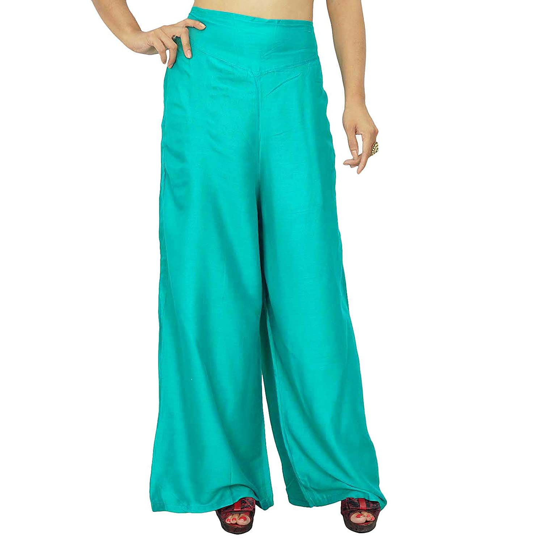 Frauen tragen Plazzo Hosen Rayon Viskose Böden Flair Hose mit Quaste