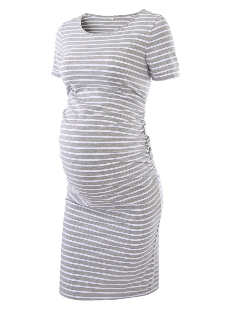 Women's Ruched Maternity Bodycon Dress Mama Causual Short Sleeve Wrap Dresses