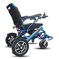 Remote Control Electric Wheelchair,Lightweight Foldable Dual Motor Electric Wheelchair for Adults Portable Smart Chair Mobility Scooter Wheelchair