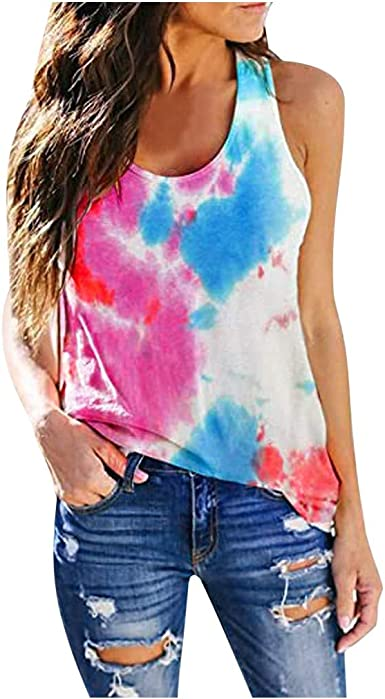 F/_Gotal Womens Summer Sleeveless Floral Print Halter Fashion Cami Tank Tops Loose Tunic Tops Blouse Shirts