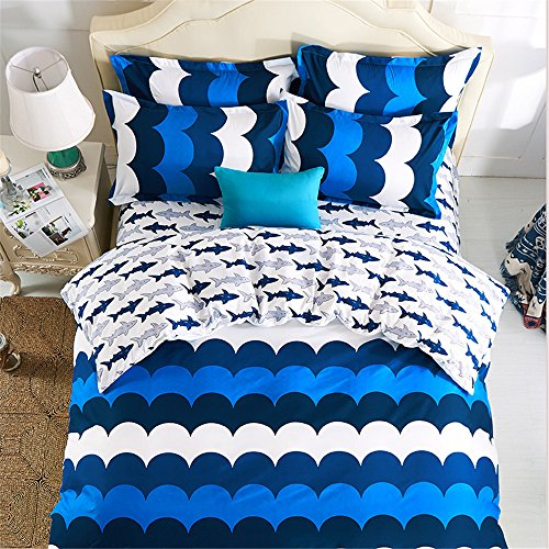 Esydream home bedding blue ocean fish kids duvet cover 4pc for Fish bedding twin