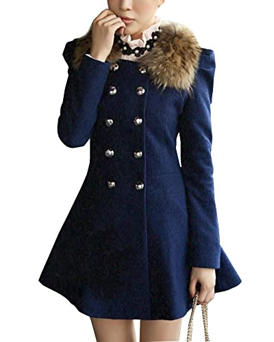Mujer Abrigo Trench Chaqueta Larga Doble Botones Coat Jacket
