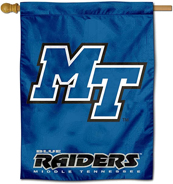 NCAA Middle Tennessee St Multicolor Blue Raiders Car Flag with Wall Brackett One Size